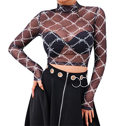 Patifia T-Shirt Damen, Die Perspektive der reizvollen Mode-Frauen Oberteile mit hohem Kragen und Karomuster in Schachbrett-Optik übersteigt Netz-Oansatz beiläufiges Streetwear Strandtop -