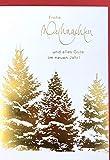 Din A5 große Weihnachtskarte weiß gold mächtige Tannen im Schnee