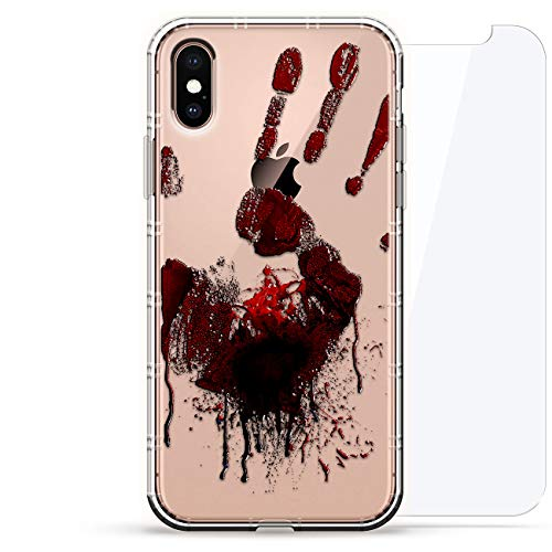 Luxendary Designer, 3D-Druck, Mode, Luftpolster-Kissen, 360 Glas-Schutz-Set für iPhone, Gruseliger blutiger Handabdruck, Halloween, farblos