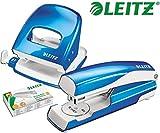 Leitz 5008 NeXXt Series WOW Bürolocher, Metall, bis zu 30 Blatt / Kombi-Set mit Heftgerät + 1000 Klammern extra (Blau Metallic)