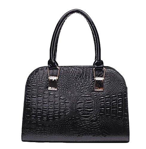 Dame Kuriertasche Schulterhandtasche Art Und Weise Eleganter Reißverschluss Luxuxdruckmuster Black