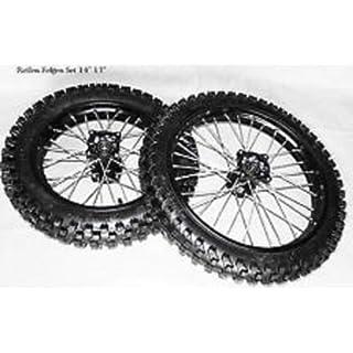 Dirtbike Cross Motorcross Pit Bike 125ccm Reifen Alu Felgen SET schwarz Eloxiert 17 / 14 Zoll Hinten + Vorne