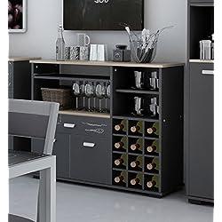 Buffet botellero para cocina de 2 puertas y 1 cajón gris grafito. 90cm