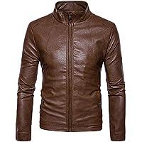 DEELIN Hombres Moda De Los Chaqueta De Color Puro Cremallera Stand Cuello ImitacióN Cuero Slim Coat Tops Hombres Casual Sport Jacket