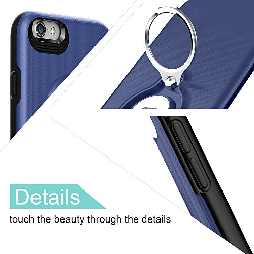 Custodia per iPhone 6s Plus con Anello da Kickstand da ICONFLANG, Custodia Girevole a 360 Gradi per iPhone 6s Plus Doppio Strato Protezione Antiurto per Apple iPhone 6s Plus/6 Plus (iPhone 6s Plus, Ro Blue