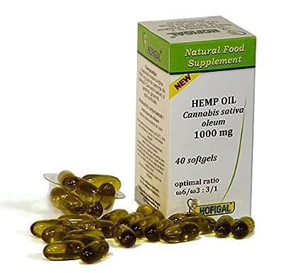 HEMP OIL 1000mg, pure cold pressed oil, 40 softgel capsules