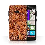 Stuff4 Hülle / Case für Microsoft Lumia 540 (Black/White) / Eiche/Braun Muster / Herbstblätter Kollektion