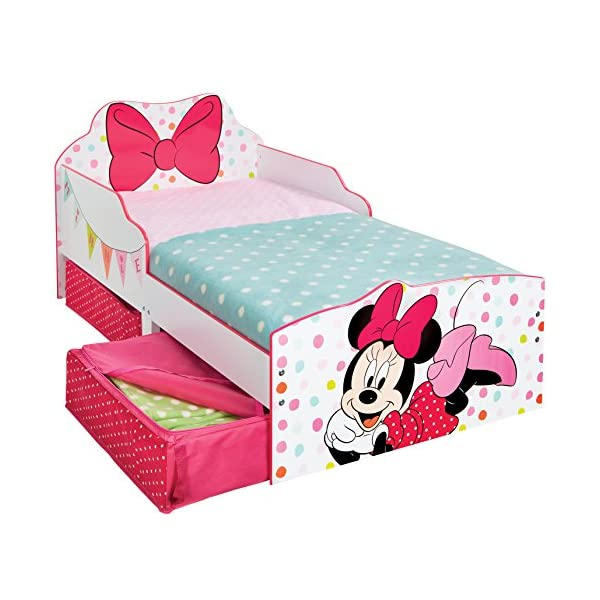 Hello Home Minnie Mouse Toddler Bed with Underbed Storage, Wood, White, 142 x 77 x 63 cm  Perfect for transitioning your little one from cot to first big bed The perfect size for toddlers, low to the ground with protective side guards to keep your little one safe and snug Two handy underbed, fabric storage drawers 5