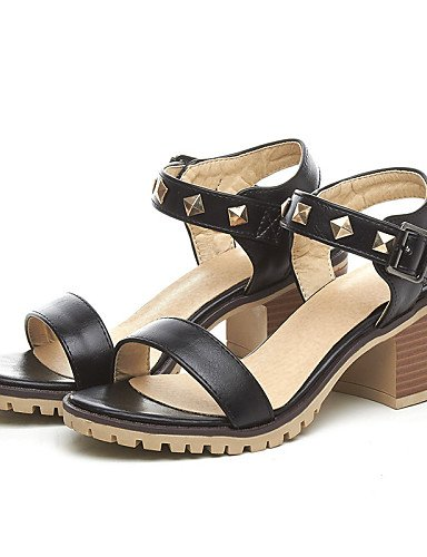 UWSZZ IL Sandali eleganti comfort Scarpe Donna-Sandali-Tempo libero / Formale / Casual-Aperta-Quadrato-Finta pelle-Nero / Giallo / Bianco Black
