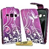 Accessory Master Herz Blumen Design Silikon Schutzhülle für Samsung Galaxy Fame S6810 lila