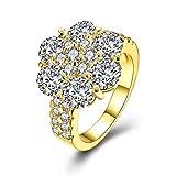 Gnzoe Schmuck Vergoldet Ring Verlobungsringe Vertrauensring Damen Blumen Einzigartig Ring CZ Setting Gr.57 (18.1)