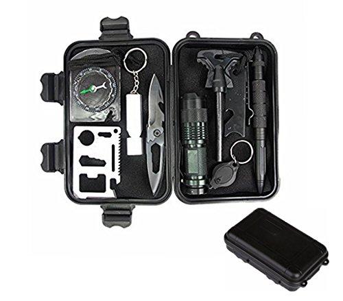 HMMJ 10 in 1 Außen Survival Kit Selbsthilfe Set SOS Notfall Box Sport Camping Wandern Werkzeuge