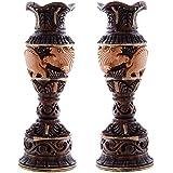 Craft Trade Wooden Handmade Shikar Half Antique Flower Vase/Pot Set Of 2 For Home Decoration