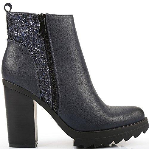 Ideal Shoes-Scarpette con lama a spessa Silvane parte 1 Blu (Marina)
