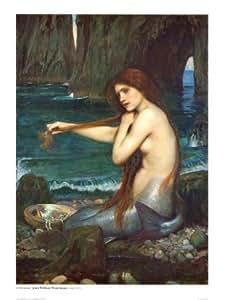 Reproduction d'art 'La Sirène, 1900', de John William Waterhouse, Taille: 61 x 81 cm