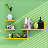 LUYIASI- Modernes einfaches Wohnzimmer-Schlafzimmer-dekoratives Wand-angebrachtes Wand-Regal Shelf ( Farbe : Gelb )