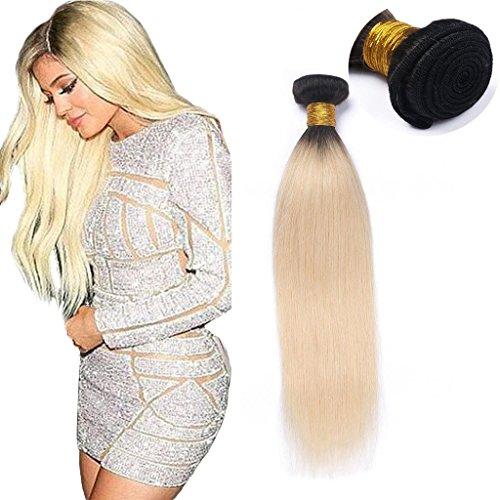 Googoo 16 Pouces/40cm Bresiliens Ondule Remy Ombre Cheveux Tissage Droit Noir Naturel a Blond Vierge Extension de Cheveux Humains 100gramme#1b/613