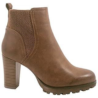 Elara Ankle Boots | Trendige Damen Stiefeletten | Blockabsatz Plateau | Chunkyrayan 949-GA-Khaki-39