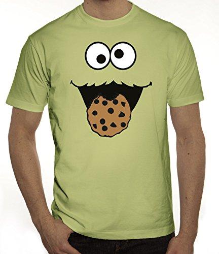Lustiges Herren T-Shirt Blue Monster, Größe: M,limone (Lustiges T-shirt Grünes)