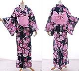 K-022 blau Lila Glitzer Schmetterling Rosen Blumen ORIGINAL traditionell Japan Damen Kimono YUKATA OBI Gürtel Baumwolle Kawaii-Story