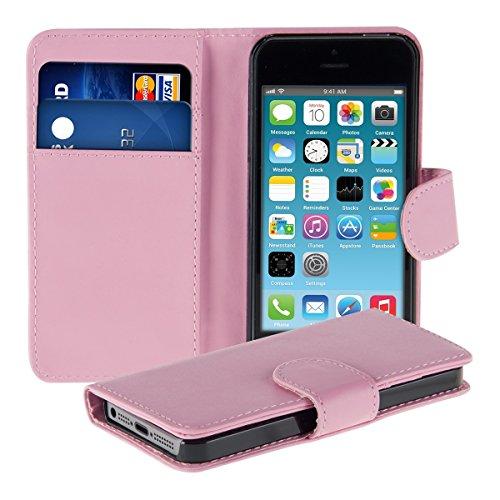 kwmobile Elegante e pratica CUSTODIA PORTAFOGLIO con porta-carte di credito e porta-biglietti da visita per Apple iPhone 5C in fucsia