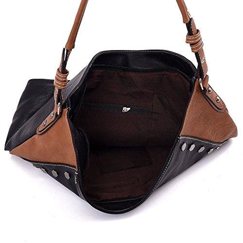 Kukubird Vada blocco colore Tote Bag borsa Casual tutti i giorni 1Black