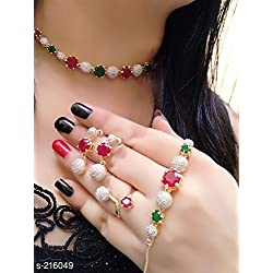 Cardinal American Diamond Stylish Latest Design Multi Color Combo of Pendant Necklace Set with Earring/Bracelet/Ring and Chain for Women/Girls