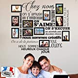 Sticker Chez Nous On S'aime ... en photos - 11 cadres photos pour photos de 10x15 cm- Taille du sticker 100x90 cm - Noir - marque Beestick...
