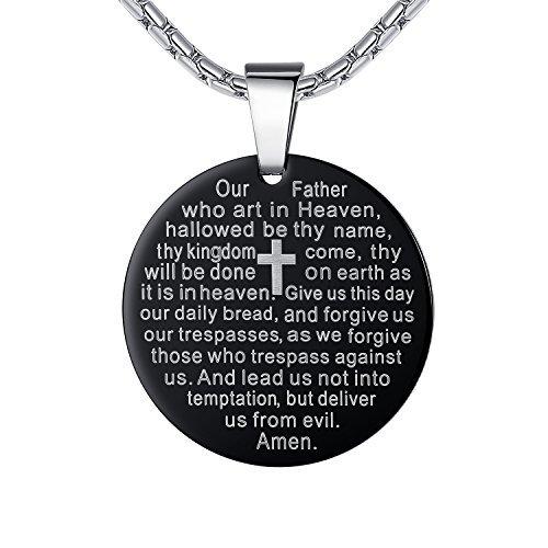 (Edelstahl Lord 's Gebet und Kreuz Medaillon Anhänger Halskette, Schwarz Farbe, 21Kette, ddp005he von aoiy)