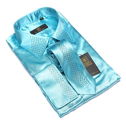 Herren lässig elegant Baumwolle/Satin langärmlig Hemd & Krawatte Satz Sammlung Turquoise No. 3