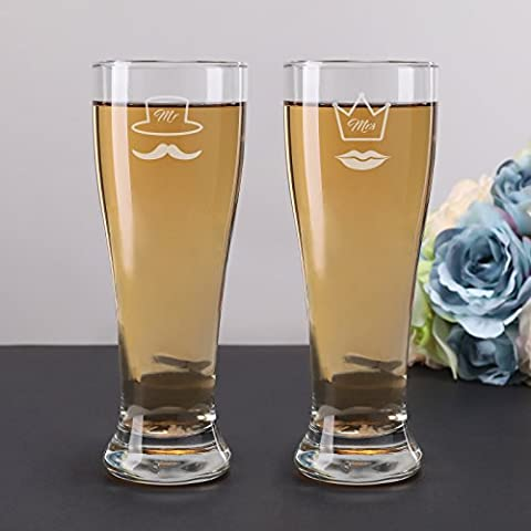 AW Personalized Beer Glasses Wedding Hand Blown Wine Glasses in