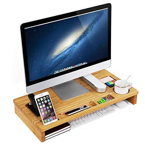 SONGMICS Monitorständer aus Bambus, PC-Ständer, für den Laptop, mit Stauraum, 60 x 8,5 x 30,2 cm, naturfarben LLD201 -