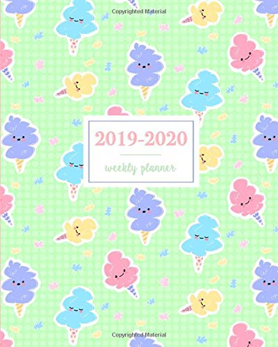 2019-2020 Weekly Planner: Kawaii Cotton Candy Mint, Weekly and Monthly Standard Professional Calendar | 1 July 2019 - 31 December 2020 Candy Dish Mint