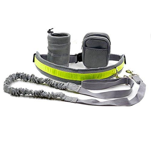 Cadrim Hunde Joggingleine mit verstellbarem Hüftgurt,elastische Bungee Leine zum handfreien Laufen/Fahrrad fahren,zusätzliche Tasche für Handy und Schlüssel etc. super zum Laufen, Joggen, Wandern und Markteinkauf,Schwarz/Weiß (Grau) -