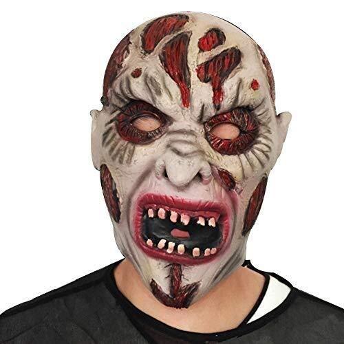 Halloween Maske Scary Rotten Face Clown Latex Maske Maskerade Kostüm Cosplay Karneval Tierkopf Maske (Color : White, Size : A) (Karneval Im Zusammenhang Kostüm)