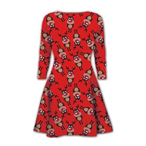 Janisramone Damen Swing-Kleid Kleid * Einheitsgröße RED - Red Nose Reindeer Print