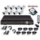 Kit vidéo surveillance 8 caméras 700tvl + enregistreur IP 1To