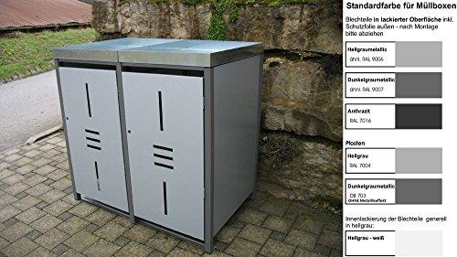 Metall Mülltonnenbox für 2 Tonnen RAL grau / anthrazit, Müllcontainer, Müllbox. Made in Germany. # Größe: Für 2 Tonnen bis 240 l # Farbe: Farbenauswahl per EMail angeben # Dach: Mit Pflanzwanne # Stanzung: ST 2/3