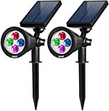 AMIR Solar Spotlight, Sloar Powered Outdoor Wall Light Waterproof, 180°angle Adjustable, Auto-on At Night/ Auto-off for Easter, for Tree, Patio, Deck, Yard, Garden, Driveway, Stairs, Pool Area (2 Pack Colorful)