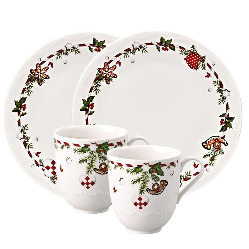 Hutschenreuther 02460-725492-29213 Weihnachtsleckereien Porzellan-Set, 4-teilig