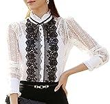 BININBOX®Chic Damenblusen Langarm elegant Lace Spitzenblusen Stehkragen OL Vintage Slim Fit Festlich (34(Hersteller Gr. M), Weiß/Schwarz)