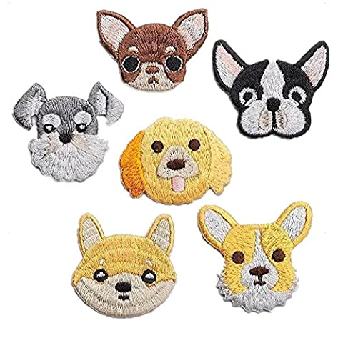 Ximkee(Pack of 6)Dogs Collection Embroidered Sew Iron On Applique Patches-Assorted