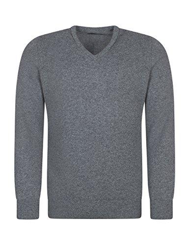 Grau Lammwolle Pullover (Great and British KnitwearHerren Pullover, Einfarbig-Cliff-XL)