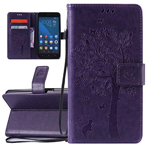 ISAKEN Custodia Honor 4X, Flip Cover per Huawei Honor 4X Libro Portafoglio Wallet Cover Albero Design in Pelle PU Protezione Caso con Supporto di Stand/Carte Slot/Chiusura Magnetica- Albero: Violet
