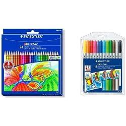 Staedtler - Pack 24 lápices de colores Noris club + 12 rotuladores de colores Noris club