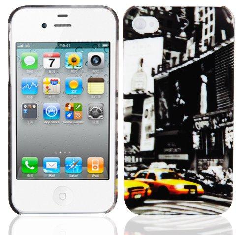 Cadorabo 0B-LYQY-49PN Apple iPhone 4 / iPhone 4S Handyhülle im Design Hardcase mit Aufdruck Schutzhülle Bumper Back Case Cover New York Cab