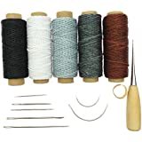 Yalulu 14Pcs Leather Working Tools, Durable 50 Meter 1mm 150D Leather Waxed Thread Cotton Cord String Needles Drilling for DIY Handicraft Tool Hand Stitching Thread (#2)