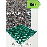 WUEFFE Grigliato salvaprato salvaverde in plastica carrabile Erba Block - 36 Pezzi