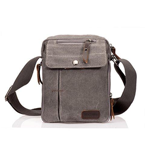 MeCool Herren Vintage Umhängetasche Messenger Schultaschen Canvas Retro Tasche für Reisetasche Sport Reisetaschen Militär Lässige Reisetasche Strandtasche Schultertasche Grau