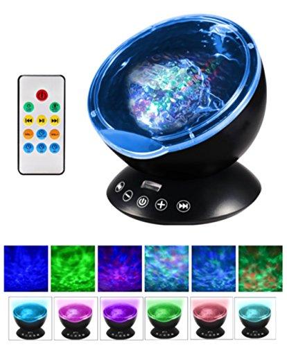 Dax-Hub telecomando Proiettore dell'oceano onda 12 LED & 7 Colori la luce notte di sonno (Lampada Proiettore Holder)